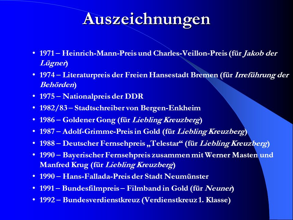 Auszeichnungen 1971 – Heinrich-Mann-Preis und Charles-Veillon-Preis (für Jakob der Lügner)