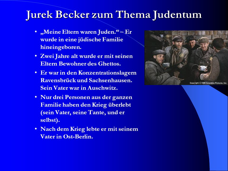 Jurek Becker zum Thema Judentum