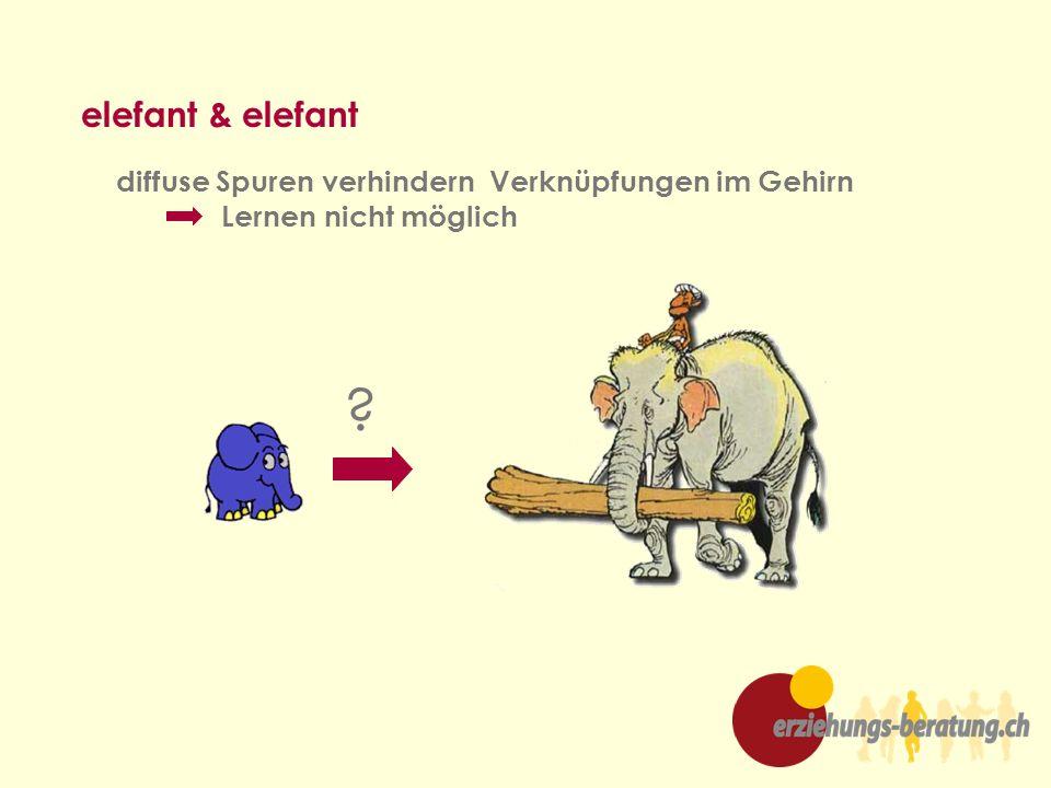 elefant & elefant diffuse Spuren verhindern Verknüpfungen im Gehirn