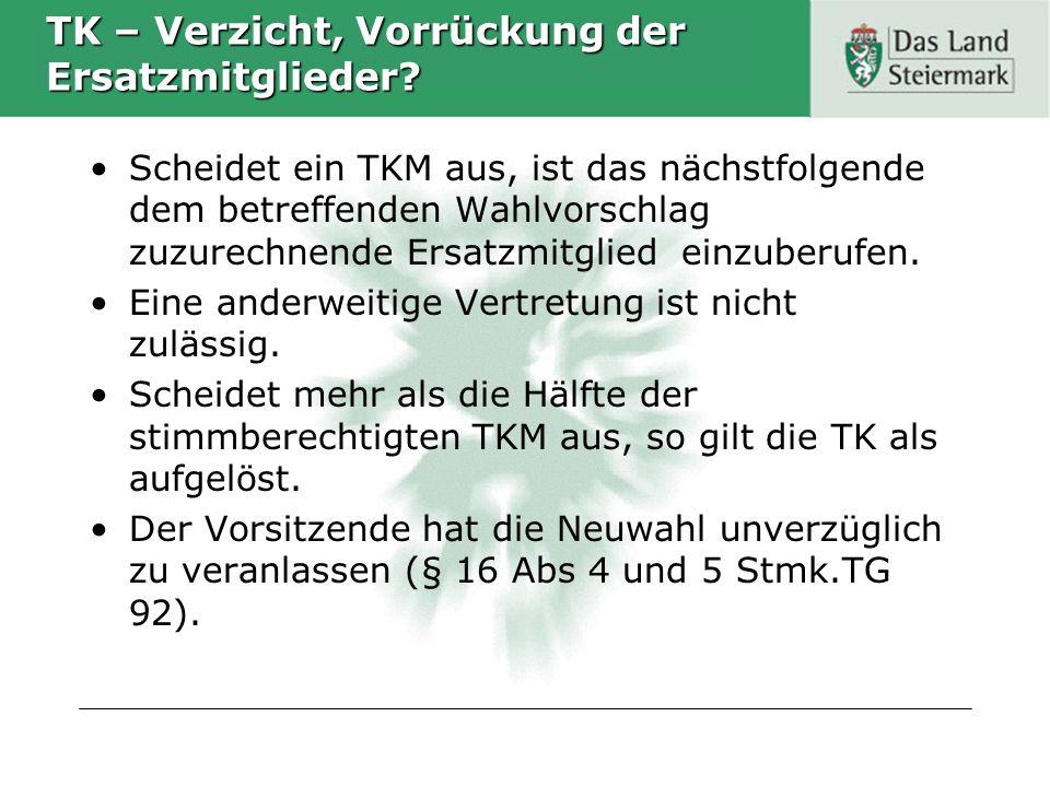 TK – Verzicht, Vorrückung der Ersatzmitglieder