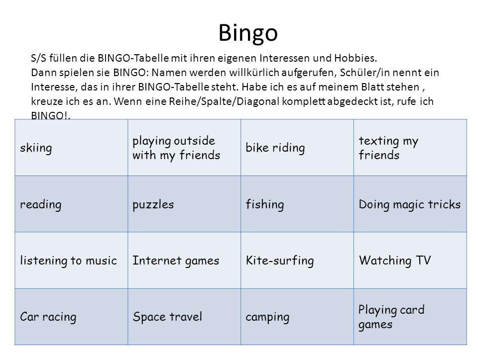 Bingo S/S füllen die BINGO-Tabelle mit ihren eigenen Interessen und Hobbies.