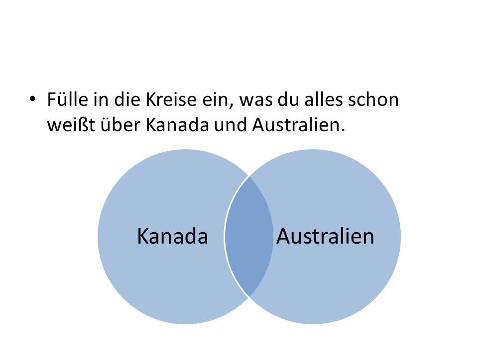 Fülle in die Kreise ein, was du alles schon weißt über Kanada und Australien.