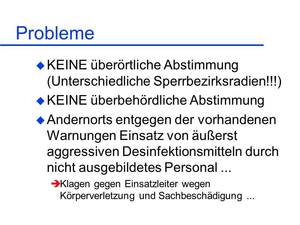 Probleme KEINE überörtliche Abstimmung (Unterschiedliche Sperrbezirksradien!!!) KEINE überbehördliche Abstimmung.