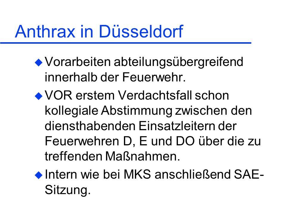 Anthrax in Düsseldorf Vorarbeiten abteilungsübergreifend innerhalb der Feuerwehr.