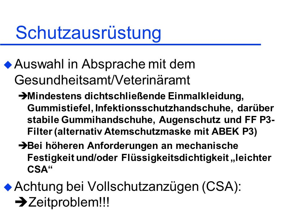 Arvid Graeger 28.05.1999. Schutzausrüstung. Auswahl in Absprache mit dem Gesundheitsamt/Veterinäramt.