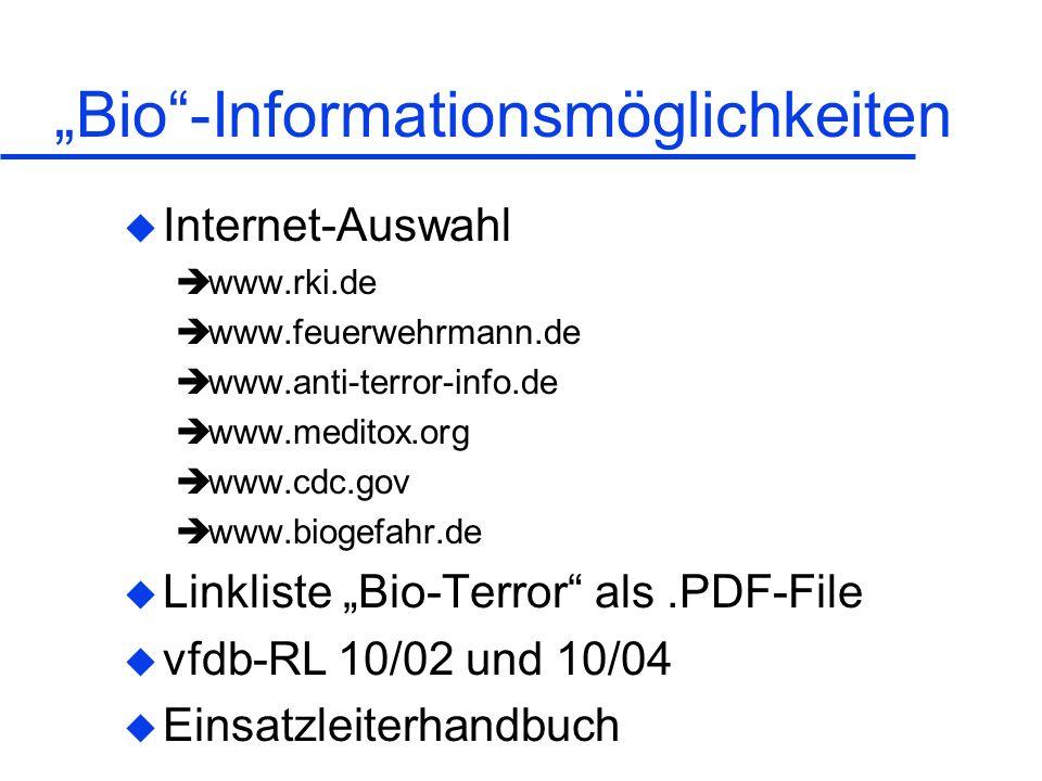 """""""Bio -Informationsmöglichkeiten"""