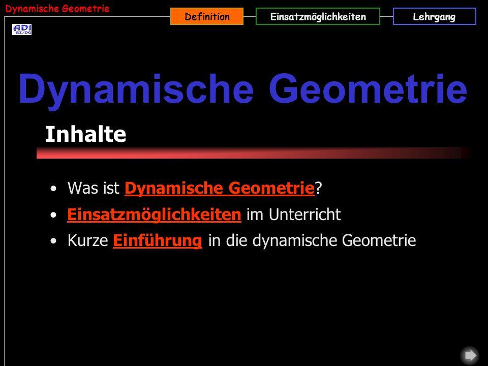 Dynamische Geometrie Inhalte Was ist Dynamische Geometrie