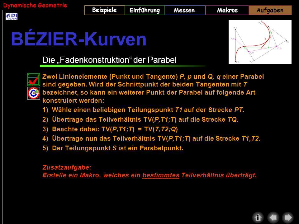 """BÉZIER-Kurven Die """"Fadenkonstruktion der Parabel"""