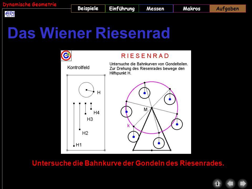 Aufgaben Das Wiener Riesenrad. (WIEN1.GEO) Wichtig: Das Makro GONDELN muss vor dem Aufrufen der Datei geladen werden.