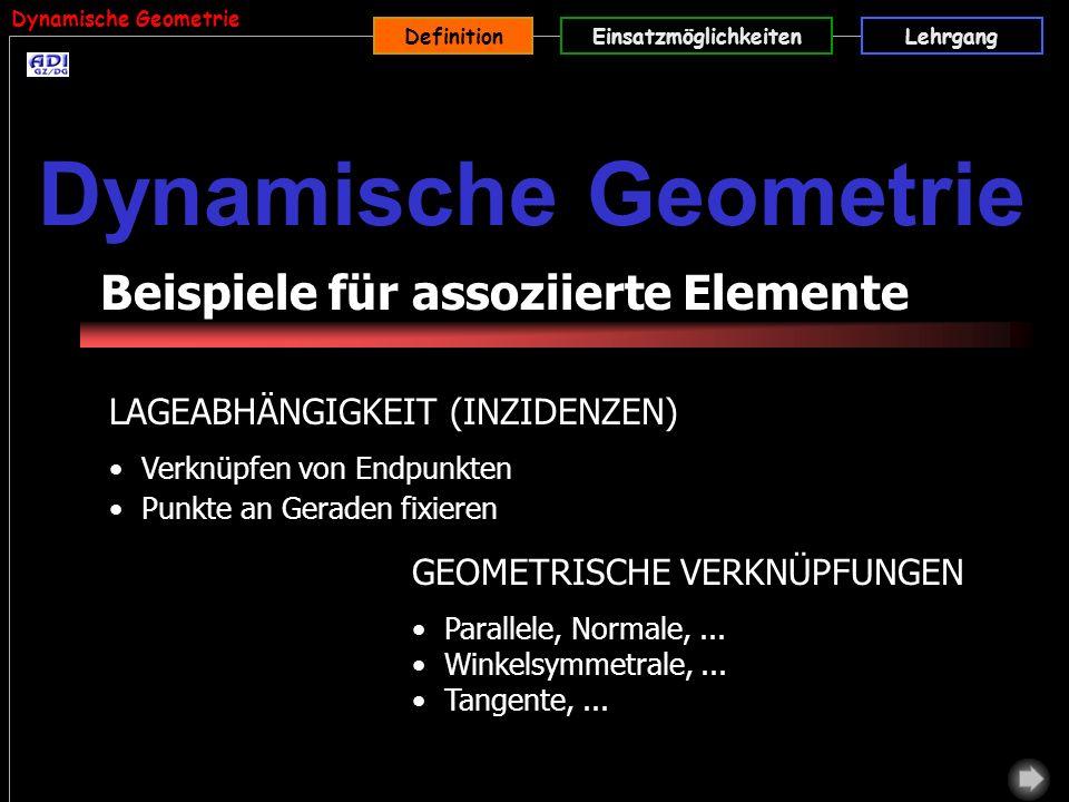 Dynamische Geometrie Beispiele für assoziierte Elemente