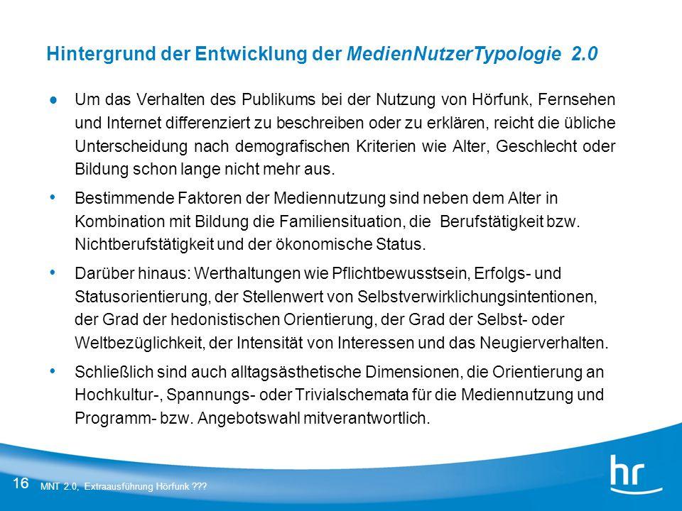 Hintergrund der Entwicklung der MedienNutzerTypologie 2.0