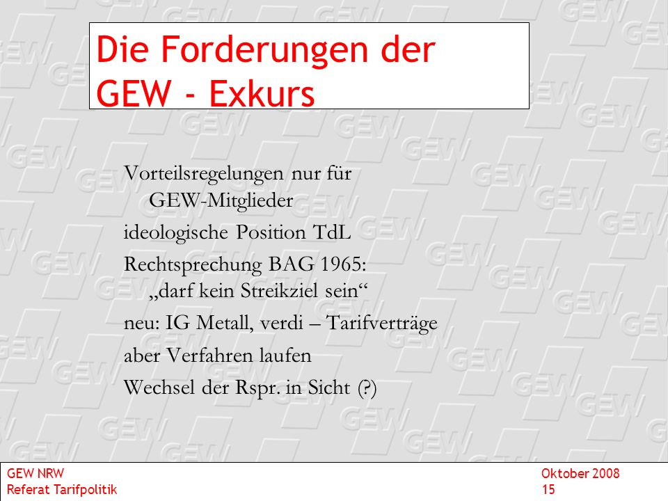 Die Forderungen der GEW - Exkurs