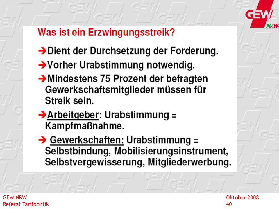 GEW NRW Oktober 2008 Referat Tarifpolitik 40