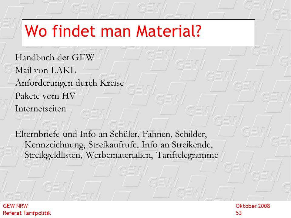 Wo findet man Material Handbuch der GEW Mail von LAKL