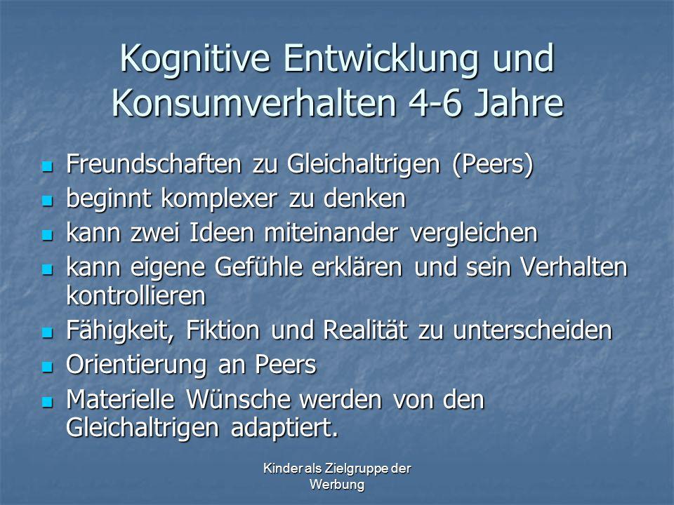 Kognitive Entwicklung und Konsumverhalten 4-6 Jahre