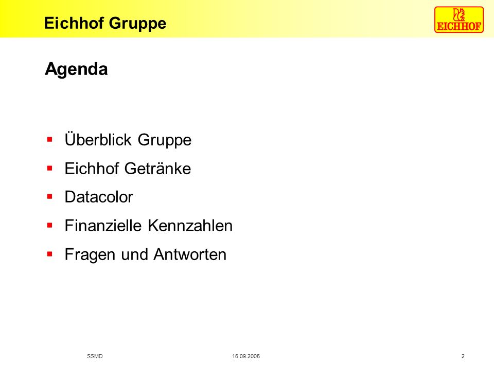 Agenda Überblick Gruppe Eichhof Getränke Datacolor