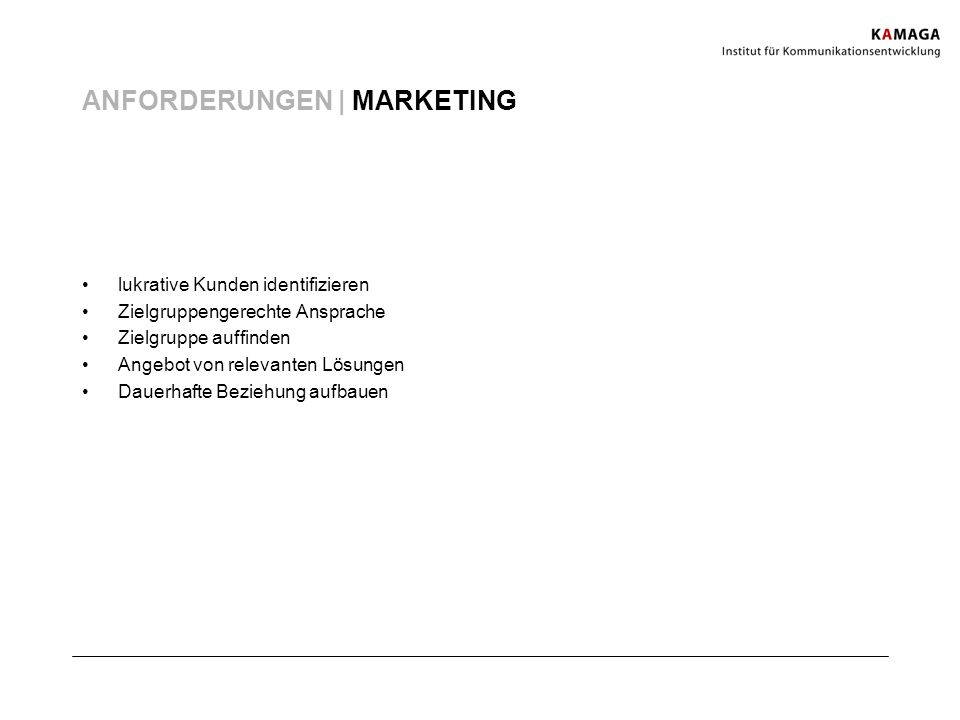 ANFORDERUNGEN | MARKETING