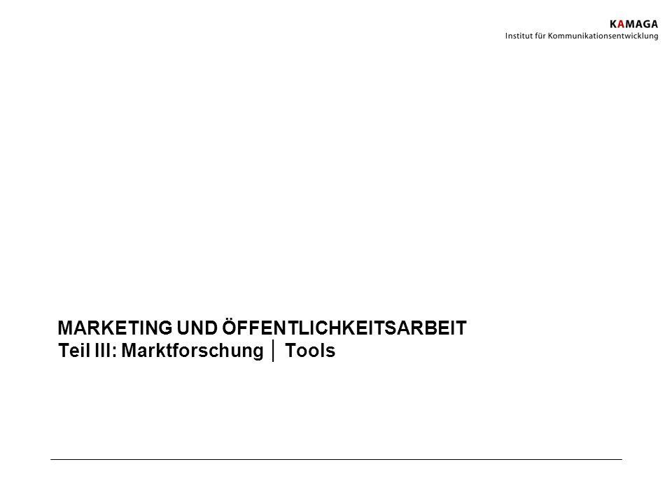 MARKETING UND ÖFFENTLICHKEITSARBEIT Teil III: Marktforschung │ Tools