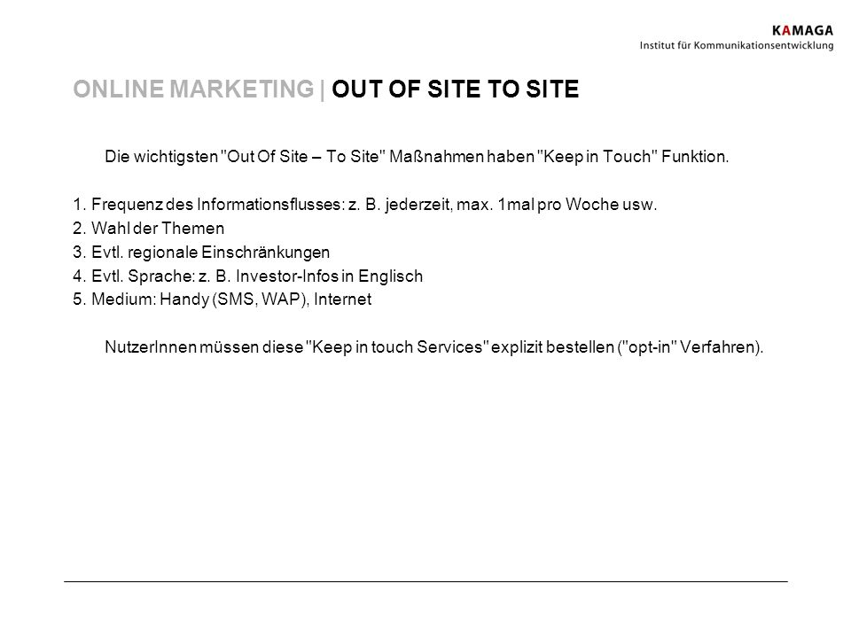 ONLINE MARKETING | OUT OF SITE TO SITE