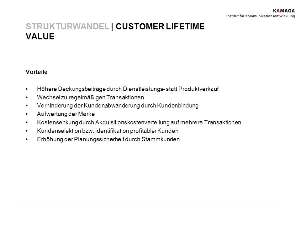 STRUKTURWANDEL | CUSTOMER LIFETIME VALUE