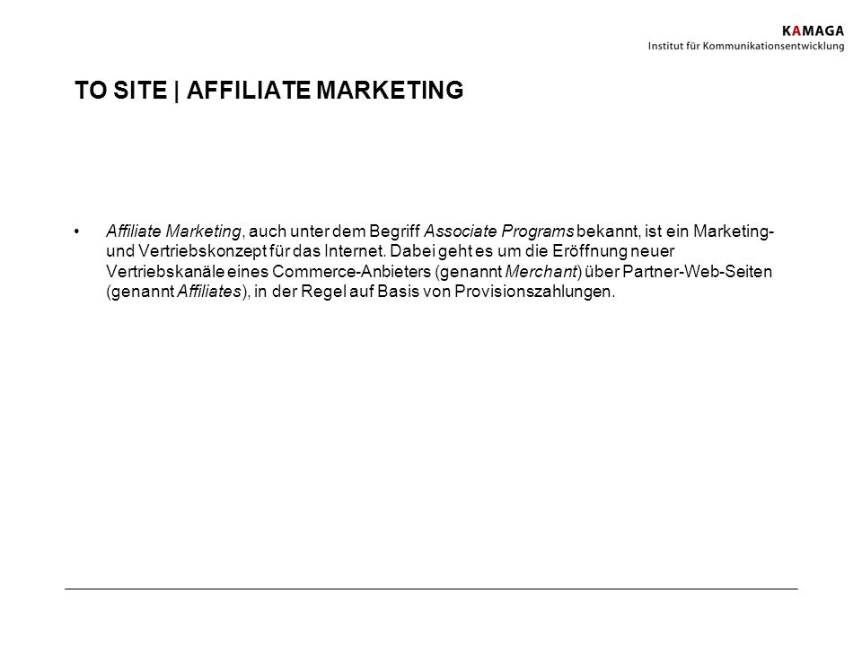 TO SITE | AFFILIATE MARKETING
