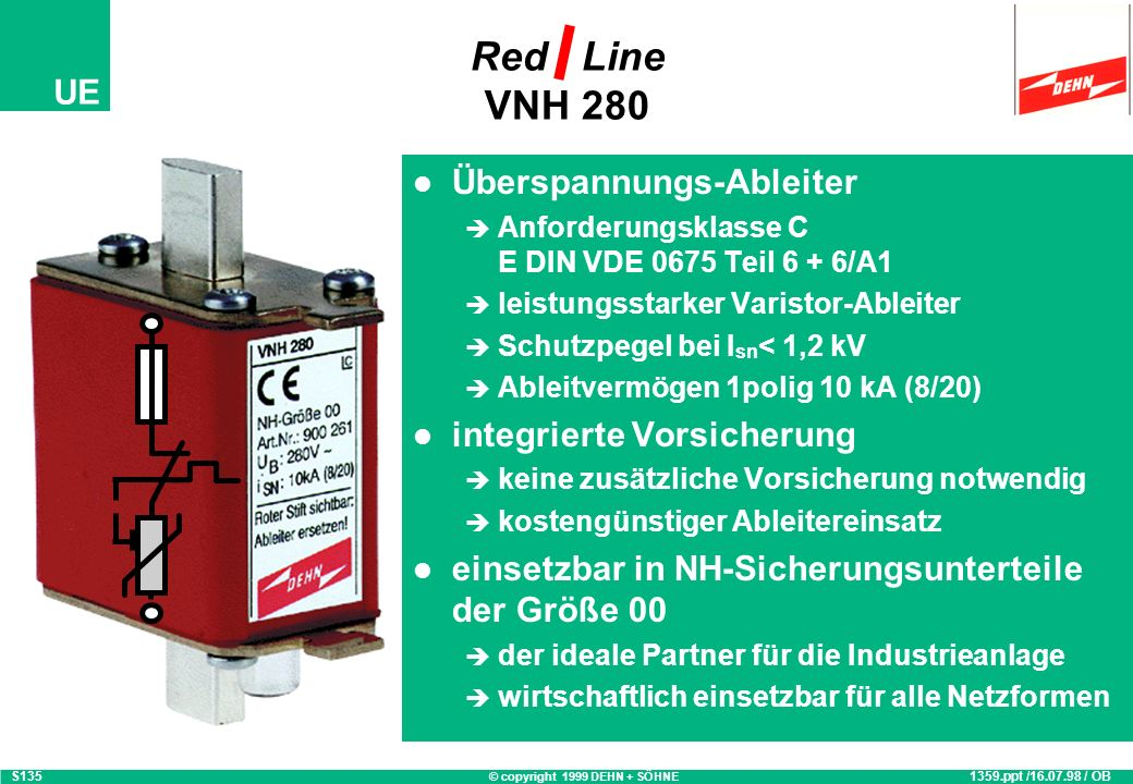 Red Line VNH 280 Überspannungs-Ableiter integrierte Vorsicherung