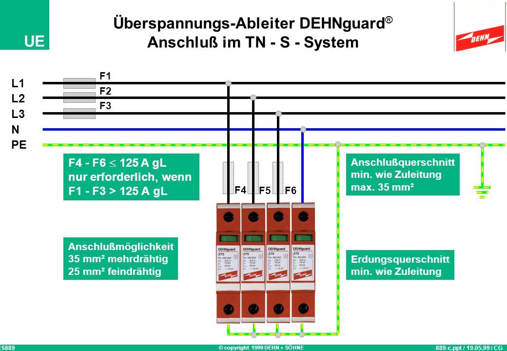 Überspannungs-Ableiter DEHNguard® Anschluß im TN - S - System