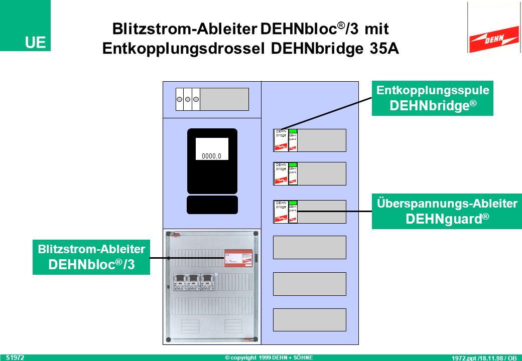 Blitzstrom-Ableiter DEHNbloc®/3 mit Entkopplungsdrossel DEHNbridge 35A