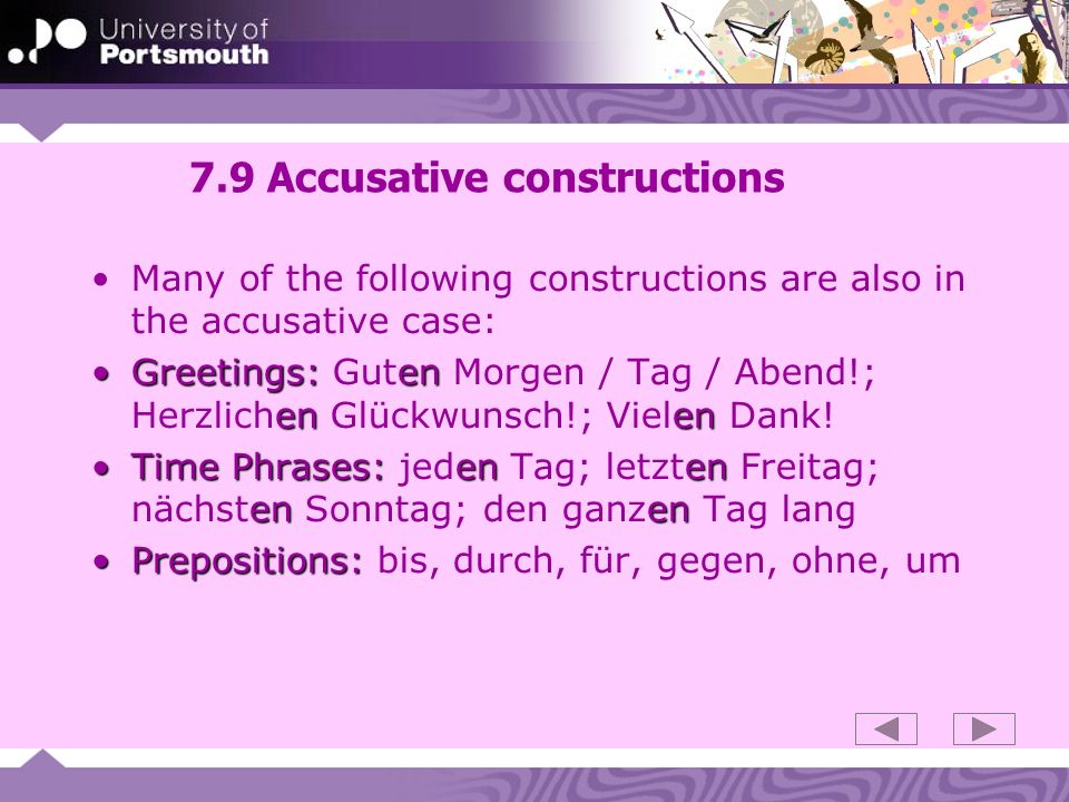 7.9 Accusative constructions