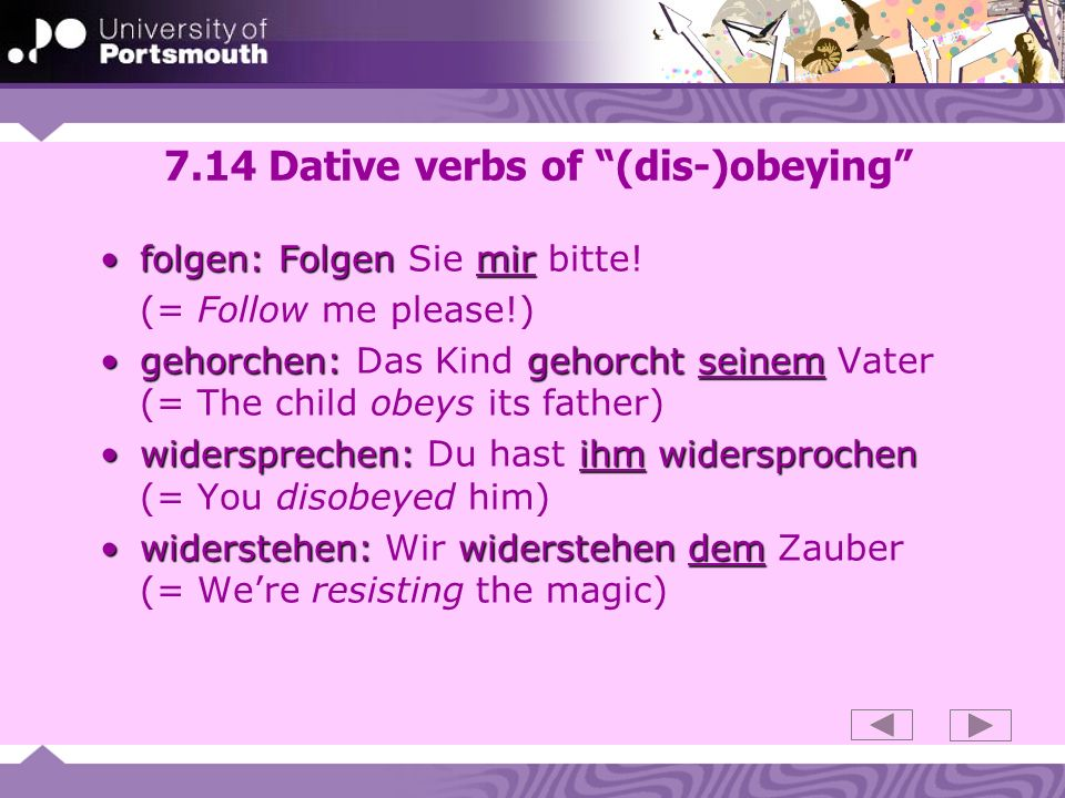 7.14 Dative verbs of (dis-)obeying