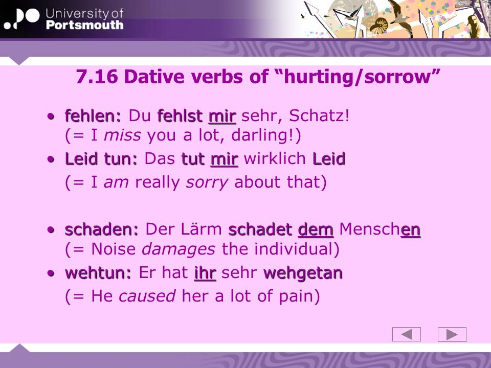 7.16 Dative verbs of hurting/sorrow