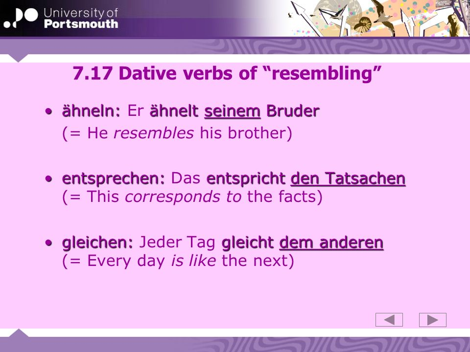 7.17 Dative verbs of resembling