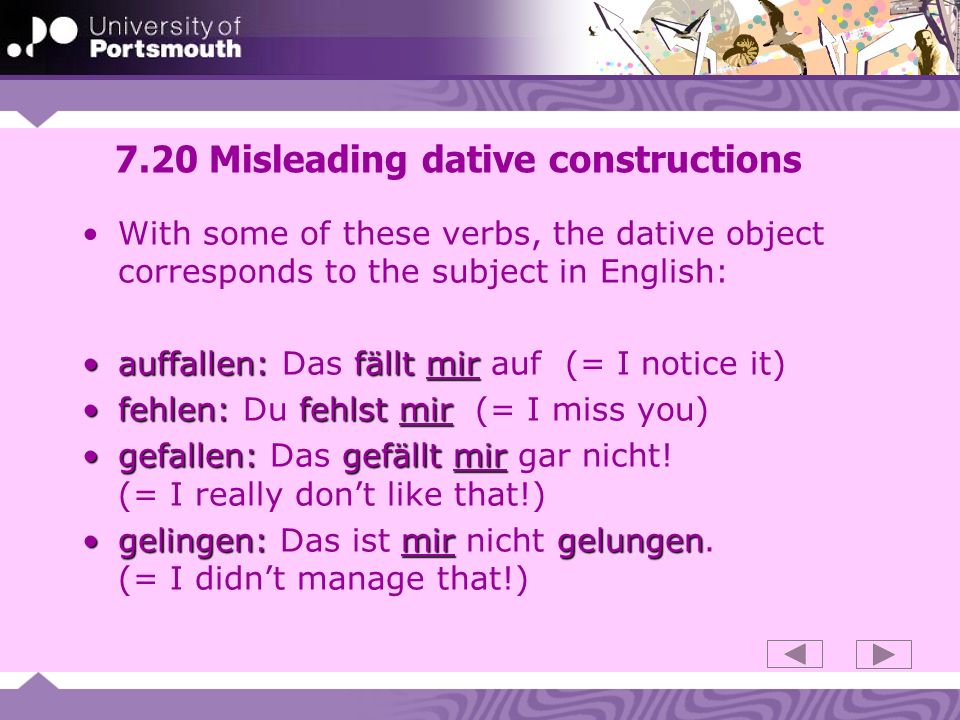 7.20 Misleading dative constructions