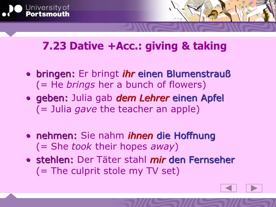 7.23 Dative +Acc.: giving & taking