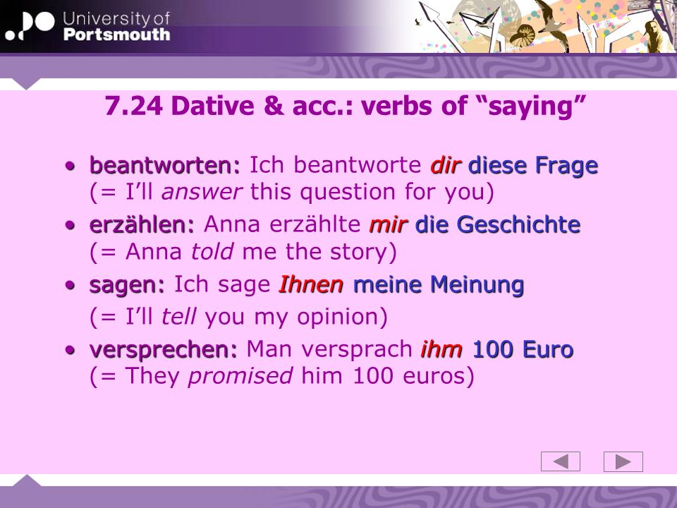 7.24 Dative & acc.: verbs of saying
