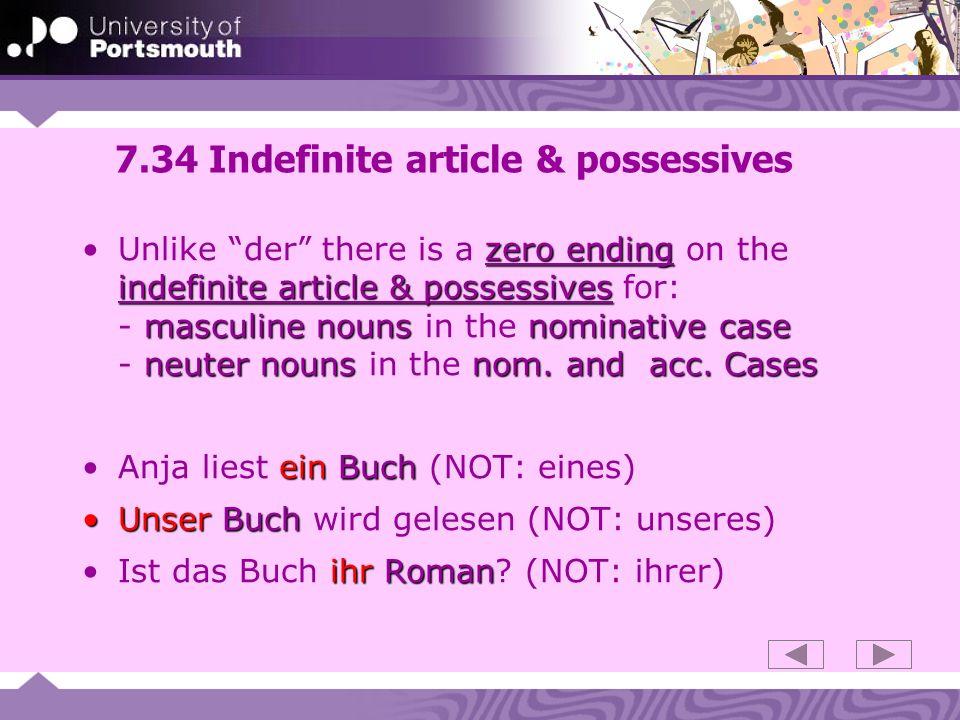 7.34 Indefinite article & possessives