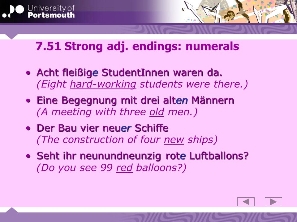 7.51 Strong adj. endings: numerals
