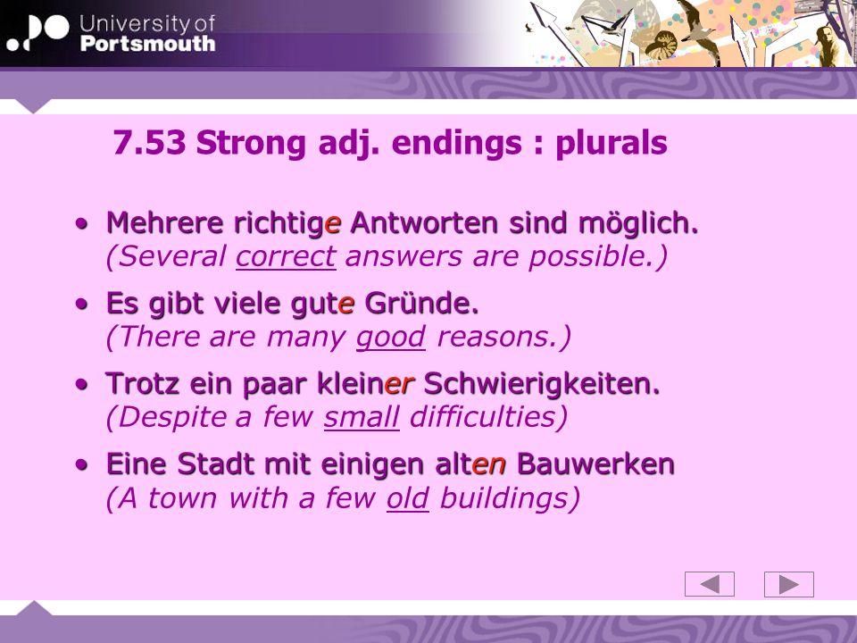 7.53 Strong adj. endings : plurals
