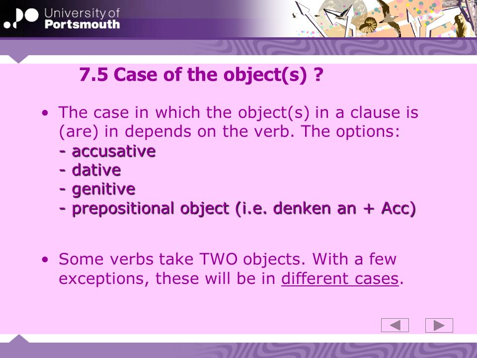 7.5 Case of the object(s)