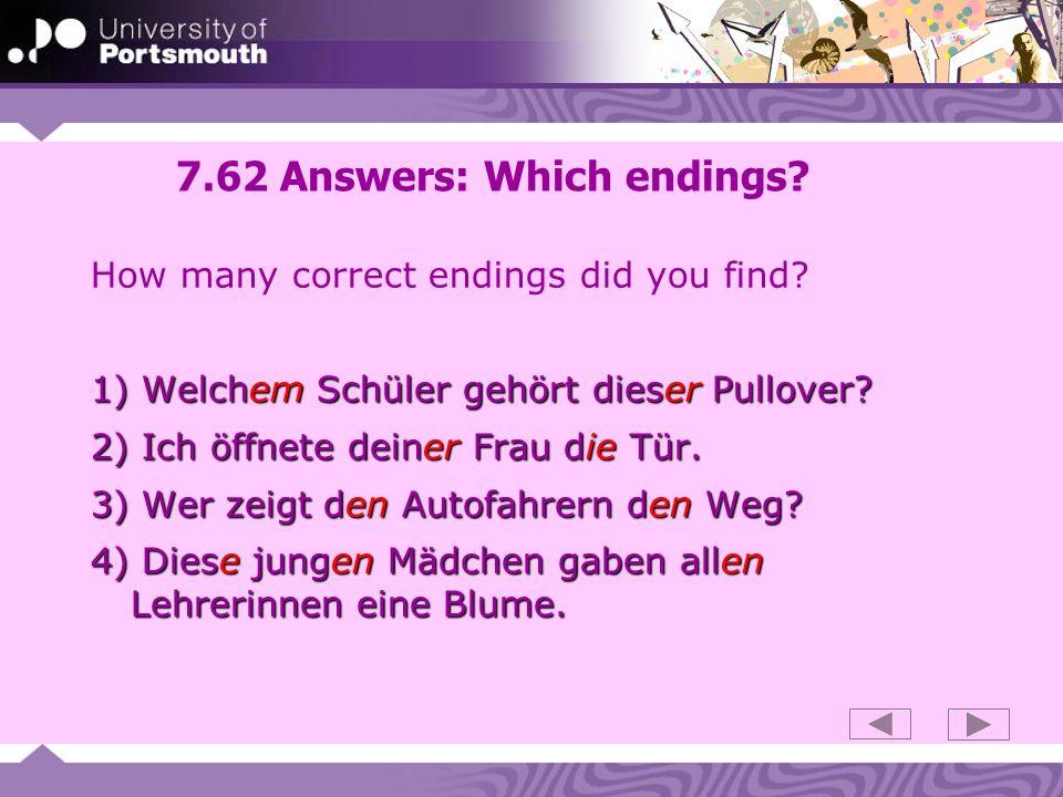 7.62 Answers: Which endings