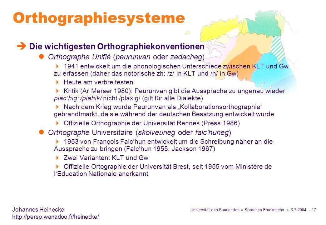 Orthographiesysteme Die wichtigesten Orthographiekonventionen
