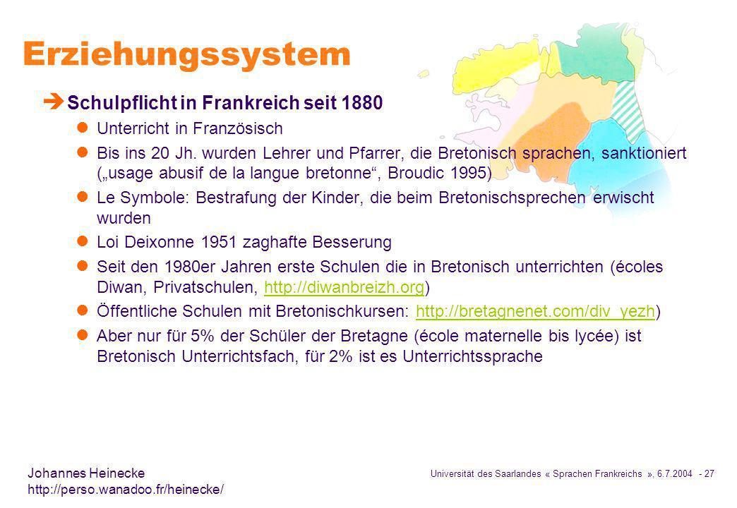 Erziehungssystem Schulpflicht in Frankreich seit 1880