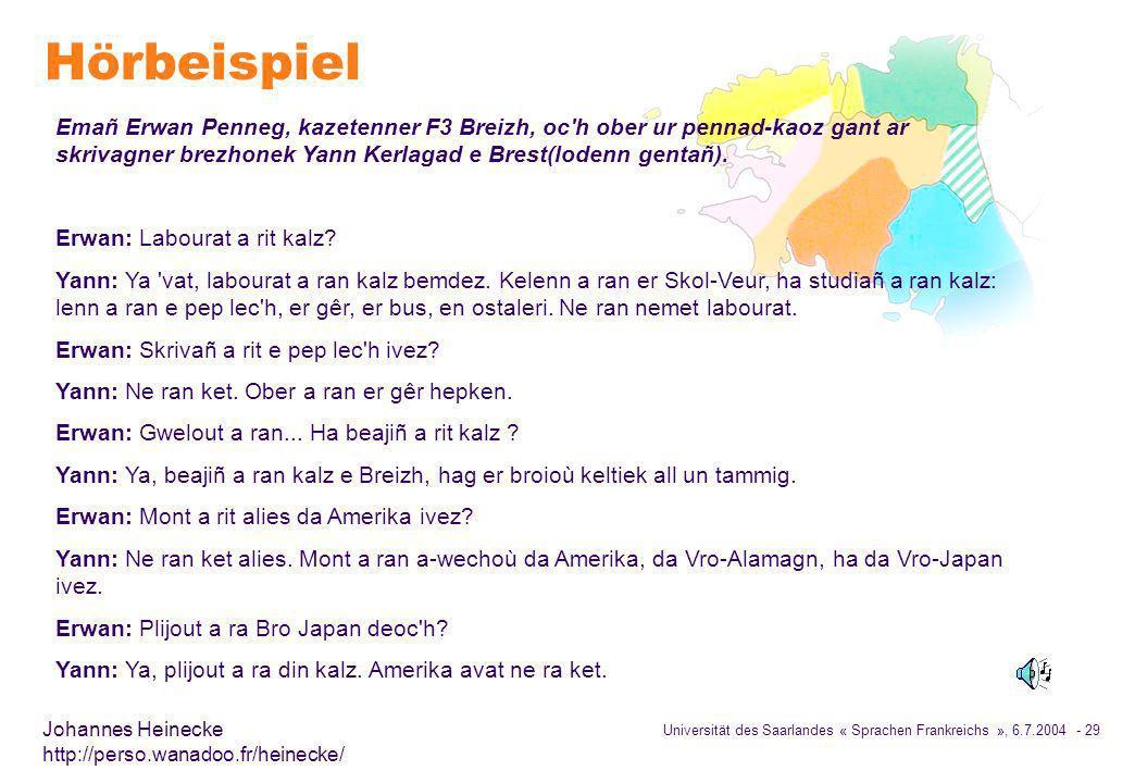 Hörbeispiel Emañ Erwan Penneg, kazetenner F3 Breizh, oc h ober ur pennad-kaoz gant ar skrivagner brezhonek Yann Kerlagad e Brest(lodenn gentañ).