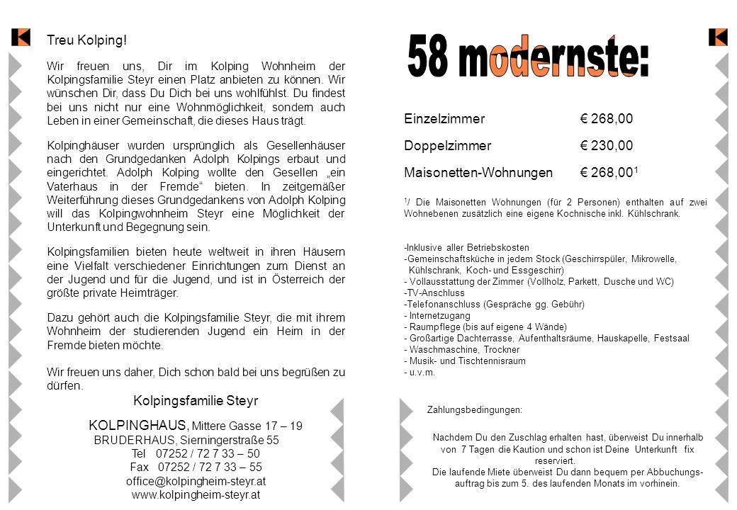 58 modernste: Treu Kolping! Einzelzimmer € 268,00
