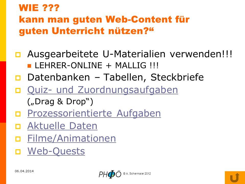 WIE kann man guten Web-Content für guten Unterricht nützen