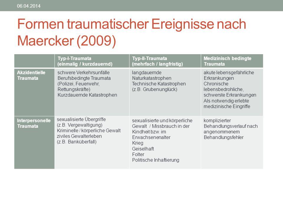Formen traumatischer Ereignisse nach Maercker (2009)