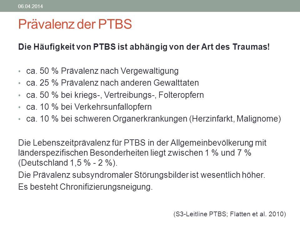 28.03.2017 Prävalenz der PTBS. Die Häufigkeit von PTBS ist abhängig von der Art des Traumas! ca. 50 % Prävalenz nach Vergewaltigung.
