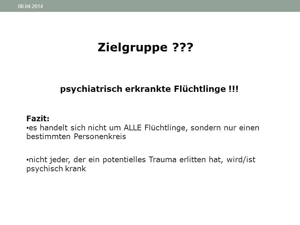 psychiatrisch erkrankte Flüchtlinge !!!