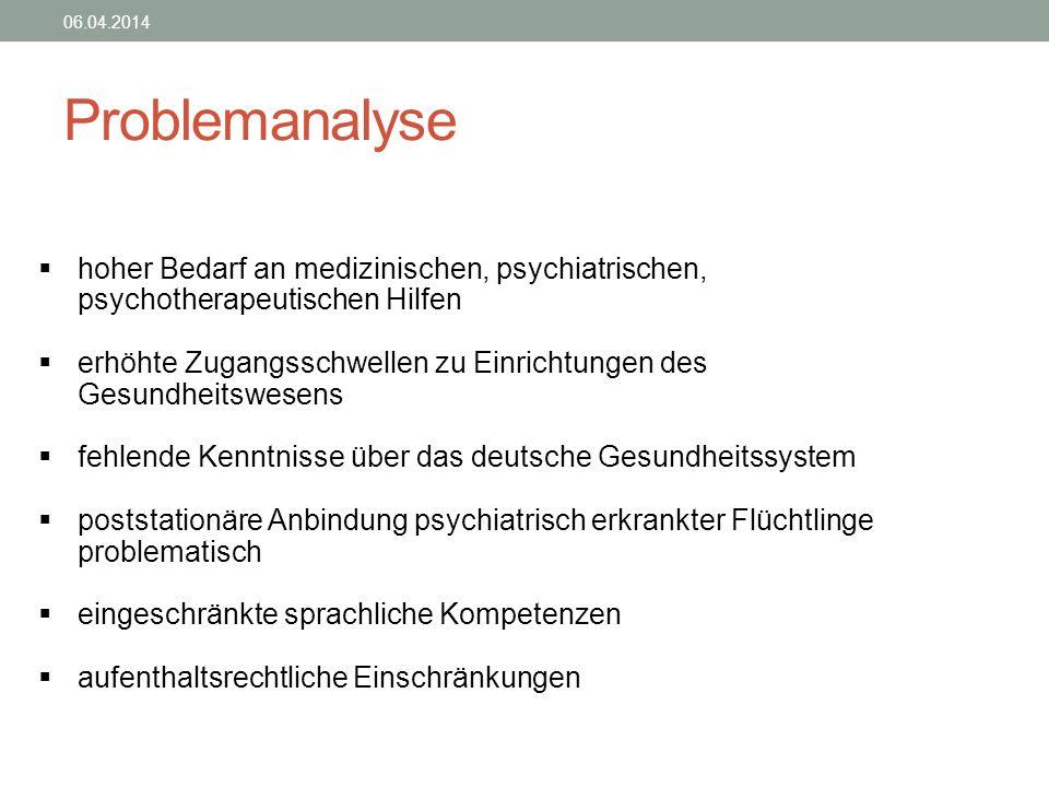 28.03.2017 Problemanalyse. hoher Bedarf an medizinischen, psychiatrischen, psychotherapeutischen Hilfen.
