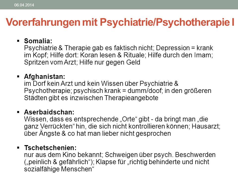 Vorerfahrungen mit Psychiatrie/Psychotherapie I
